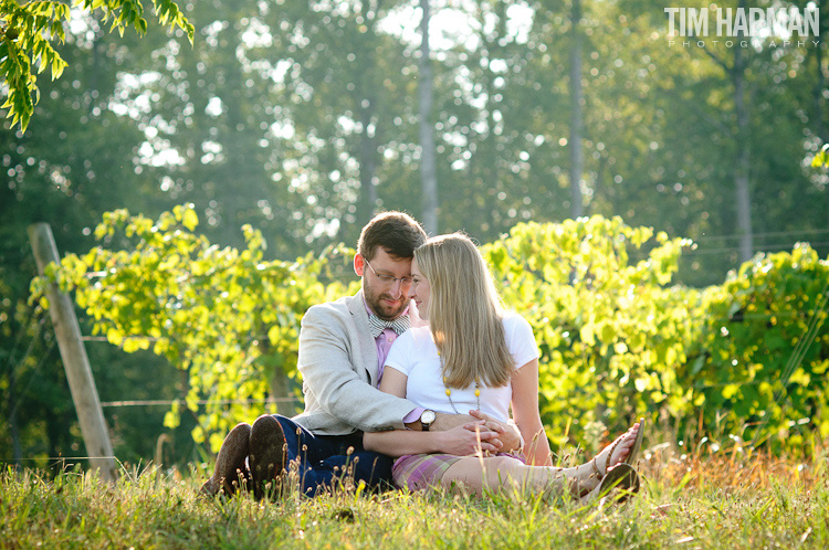 engagement shoot in an apple orchard